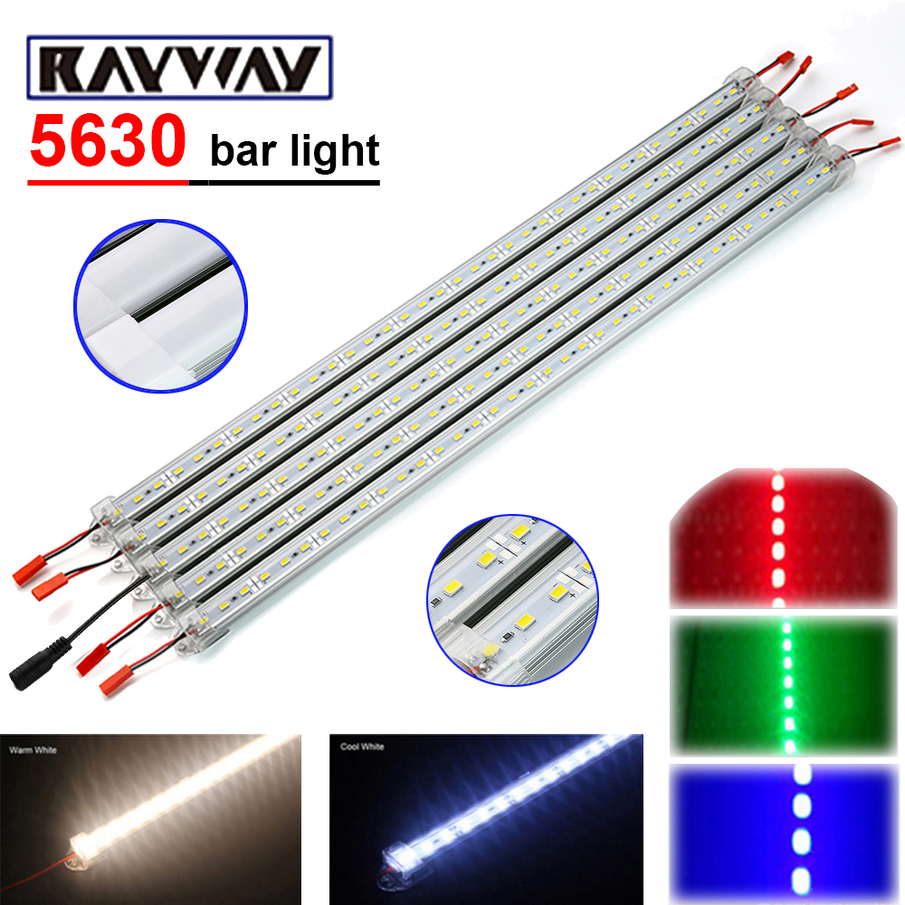 RAYWAY 5pcs*50cm DC 12V 36 SMD 5630 LED Strip Light Rigid LED Bar Light with U Aluminium Profile + pc cover + DC Connector lamps 10 50 meters pack 1m per piece led aluminum profile slim 1m with milky diffuse or clear cover for led strips