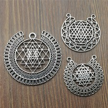 3pcs/lot Charms Sri Yantra Antique Silver Color Pendant Jewelry Pattern For Making