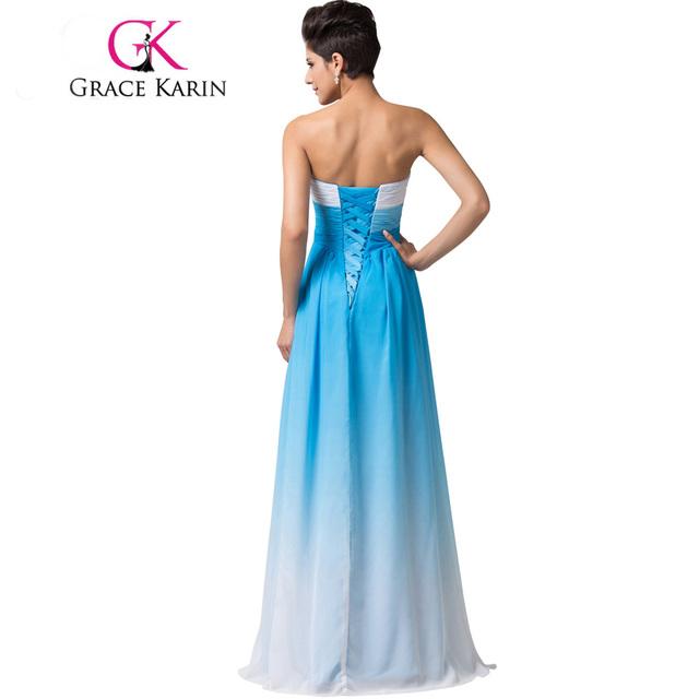 Grace Karin Summer Ombre Chiffon Bridesmaids Dress 2017 Sweetheart Strapless Cheap Bridesmaid Dress Under 50 Wedding Party Gown