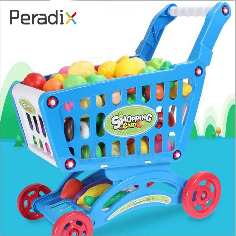 Hot Kid Childrens Shopping Trolley Cart Basket Role Play Toy Xmas Gift