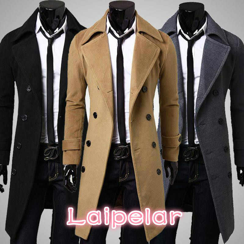 6037fc189 Winter Long Trench Coat Men Classical Style Overcoat Slim Fit Double ...