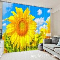 2017 Moderne Elegent Soleil fleur 3D Blackout Rideaux Pour Literie chambre salon Hôtel Rideaux Cortinas Para Sala
