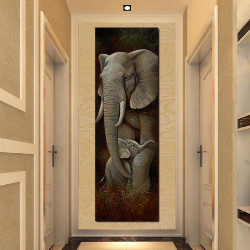 Abstrakte Afrika Elefanten Sohn Tier Ölgemälde auf Leinwand Poster und Drucke Tiger Skandinavischen Wand Bild Für Wohnzimmer