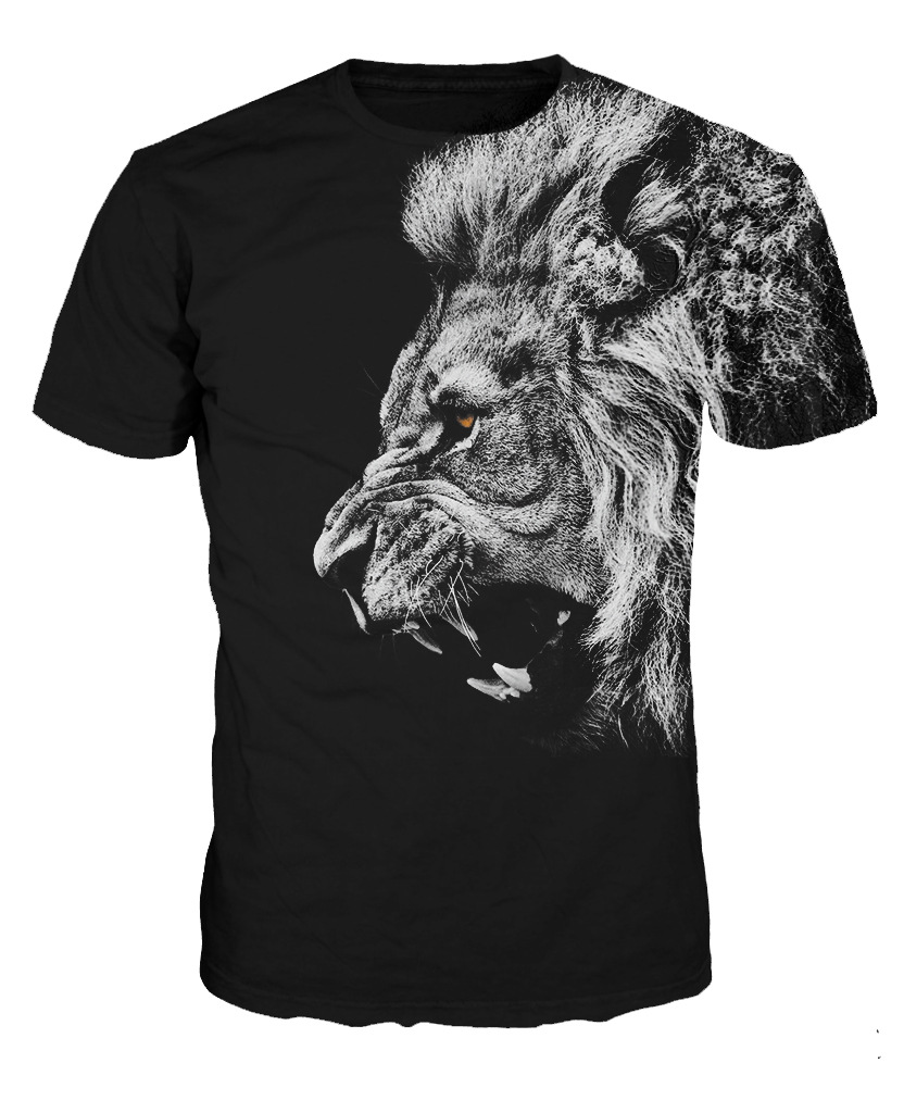 d3b5e9c01 New Roar Lion 3D Digital Printing T shirt Men Male Round Neck Short Sleeve  Shirt-in T-Shirts from Men's Clothing on Aliexpress.com   Alibaba Group