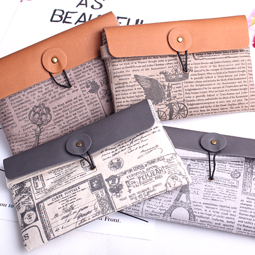 1PC Coin Bag Vintage Style Purses Stationery Storage Portable Wallet School Accessories Office Material Kids Supplies (ss-1535)