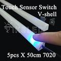 5PCS V Aluminium Profile smd 7020 LED rigid strip led bar light 0.5M 36leds 12V with pc covcer kitchen led under cabinet light