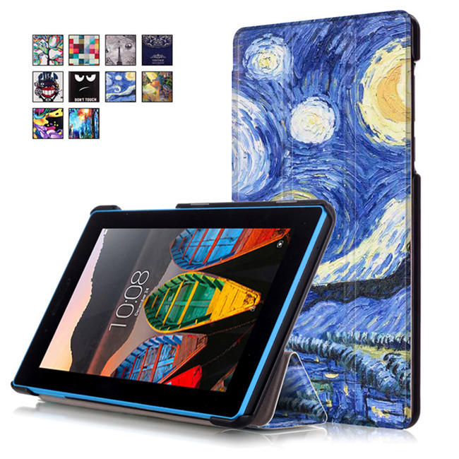 PU Leather Cover Stand Case for Lenovo TAB3 Tab 3 7 730 730F 730M 730X TB3-730F TB3-730M 7.0 Tablet + 2Pcs Screen Protector print flower pu leather case cover for lenovo tab 3 730f 730m 730x tb3 730x tb3 730f tb3 730m tablet 7 screen protector film