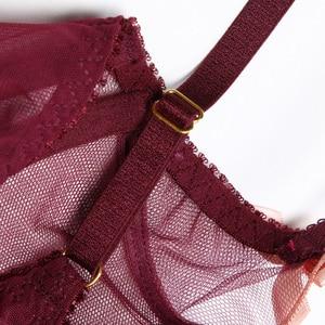 Image 4 - Transparent Bra Petal Shape Sexy Lingerie Set Underwire Bow Decoration Underwear Women Sexy Mesh Bra Set Seethrough