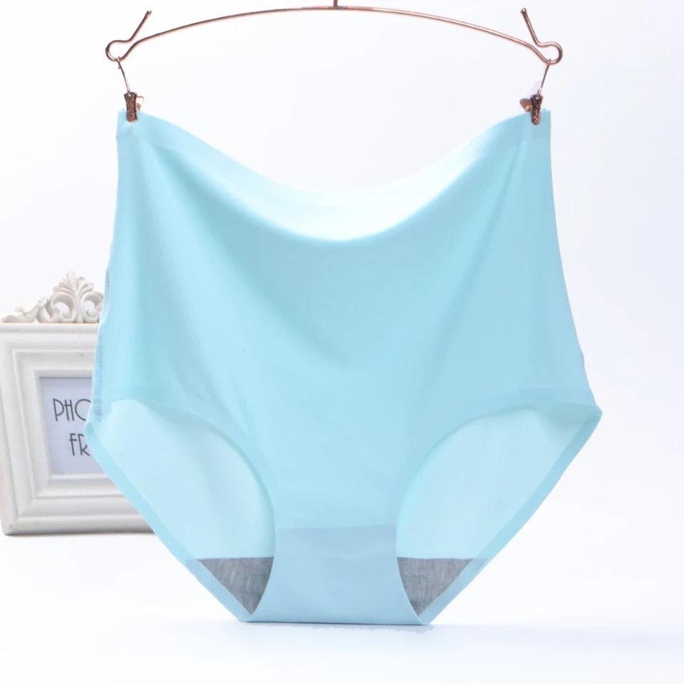 KJ105 High Waist Women Ice Silk Underwear Female Seamless Breathable Panties Mulheres Seda De Gelo Sem Traje De Cueca
