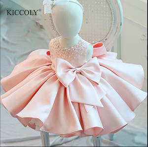 Infant Girl Clothes Beads Lace Bow Newborn Baptism Dress Sleeveless Baby Girls Party Christening Dresses 1 Year Birthday Outfits(China)