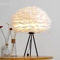 Нордический дизайн милый перо поступление Торшер для постели читальный зал сердце Форма Кристалл Настольная лампа с ЕС plug постоянный лампа