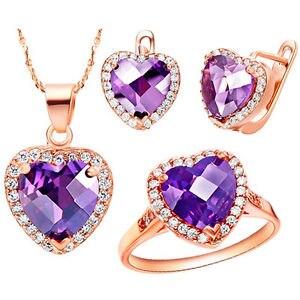 Or Rose coeur de l'océan pendentif bague boucles d'oreilles collier bijoux ensemble cadeau bijoux ensembles costume sur mesure perles africaines argent
