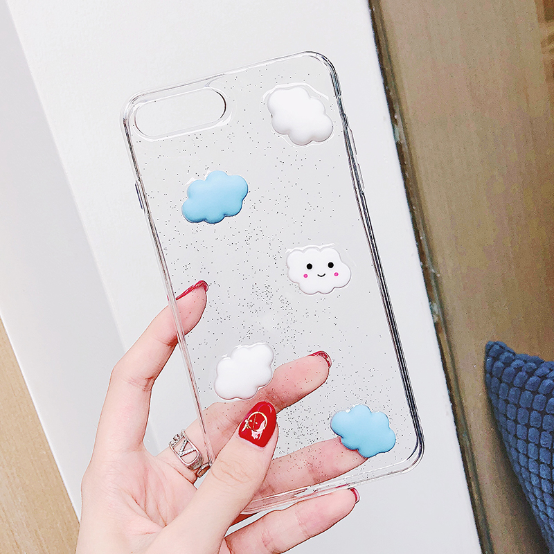 Lewinsky Cute Cartoon 3D White Clouds Phone Case For iPhone 7 Plus Transparent Soft TPU Cases Clear Cover For iPhone 8 6 6s 7 Plus X (3)