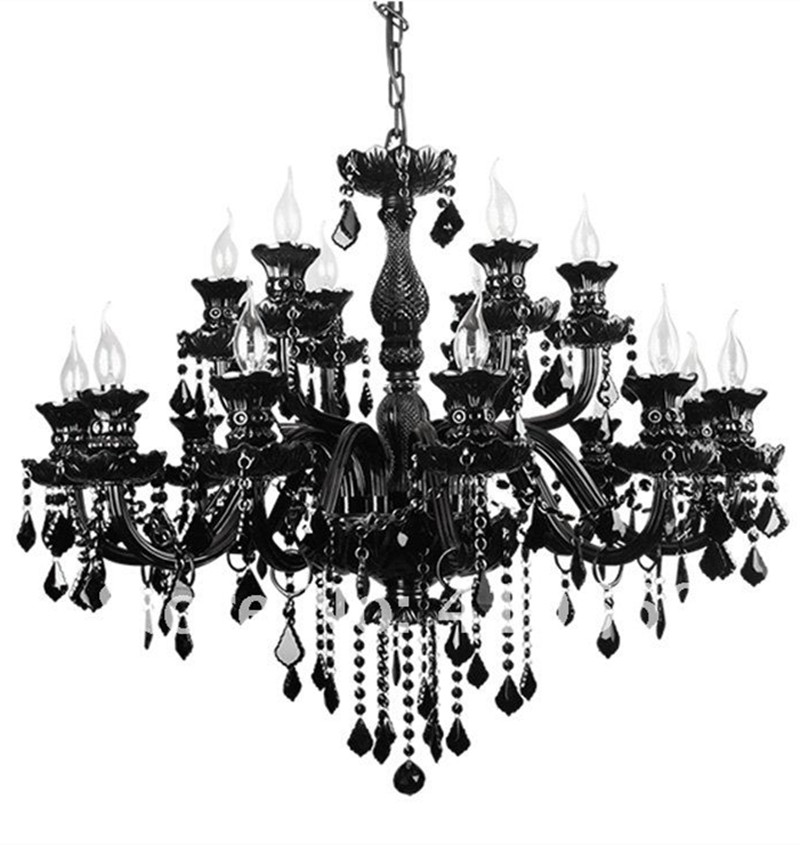 Chandelier Black Crystal: Black crystal chandelier for living room duplex house lustres de cristal  E14 Large LED chandelier crystal,Lighting