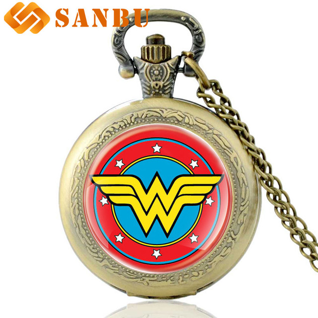 Vintage Wonder Woman Collana Orologi Retro Bronzo Del Quarzo Delle Donne Orologi