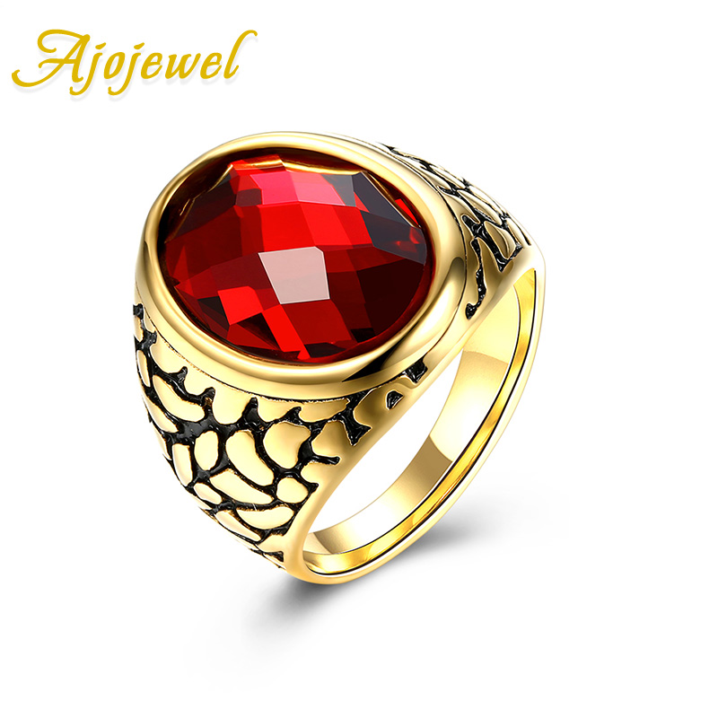New Vintage Accessories Ajojewel Brand Noble Stainless Steel Red / Black Stone Rings For Men