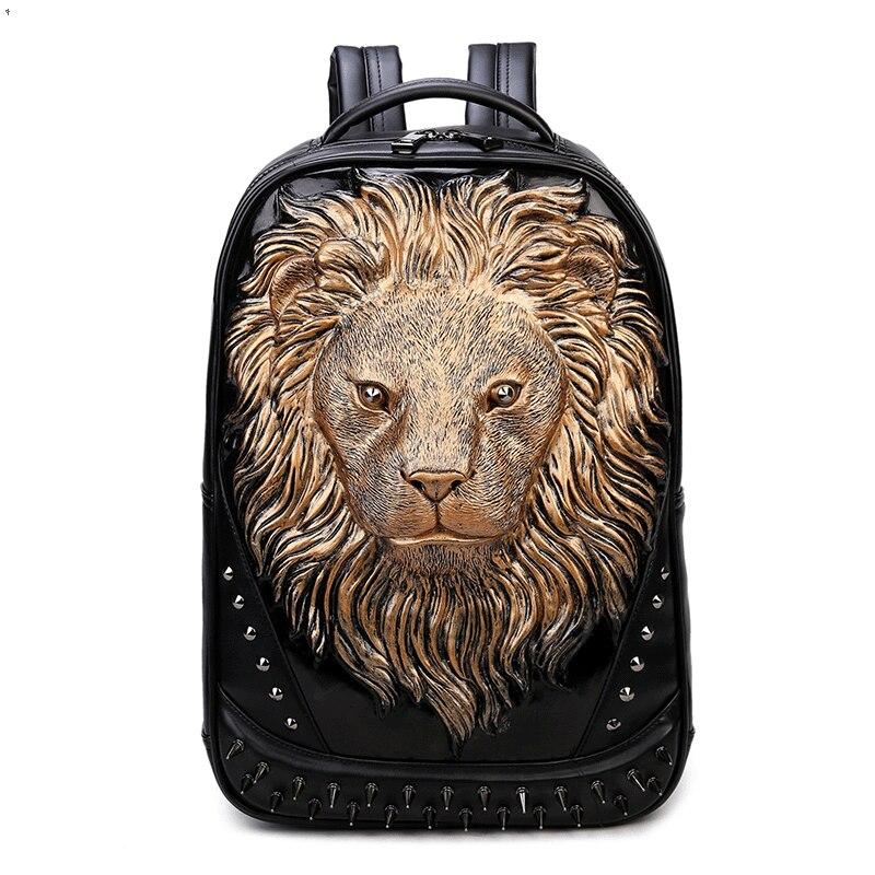 2017 nouveau Edgy Cartoon Lion impression sac à dos hommes de haute qualité PU sac d'école japon et Style coréen mode Rivet sac de voyage