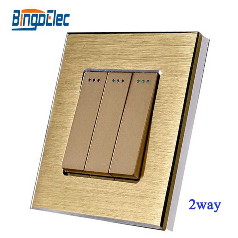 Hot Sale,EU/UK Standard CE Gertification 3gang 2way Light Switch Golden Aluminum Panel Electrical Wall Switch AC110-250V 3 gang 2 way wallpad smart home eu uk standard silver metal frame 3 gang 2 way push button lighting staircase switch 110v 220v