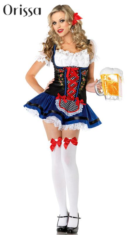 Holiday Sale Sexy Dutch Beer Girl Cosplay Halloween Adult Costume Fancy Dress Oktoberfest Clubwear Wholesales