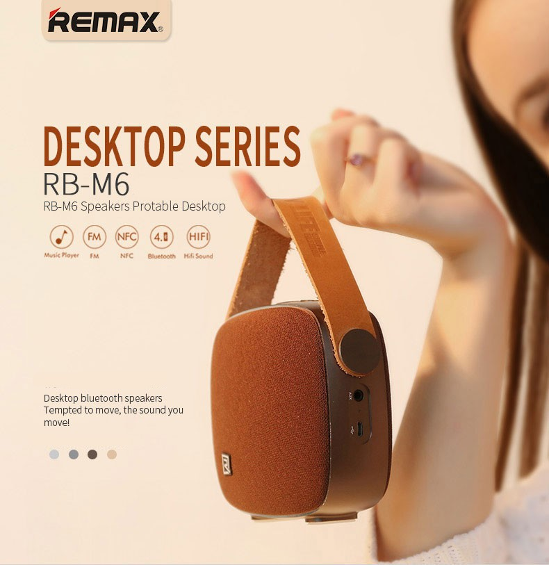Portable Desktop Speakers Wireless Bluetooth Speaker Remax RB-M6 HIFI Handsfree Design fm radio soundbar for smart phone (2)