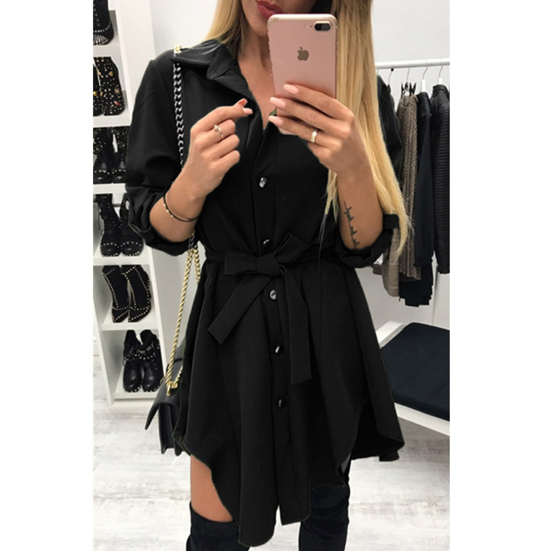 T10 2018 new long sleeve lapel lace dress single breasted irregular ladies shirt dress in Dresses from Women 39 s Clothing