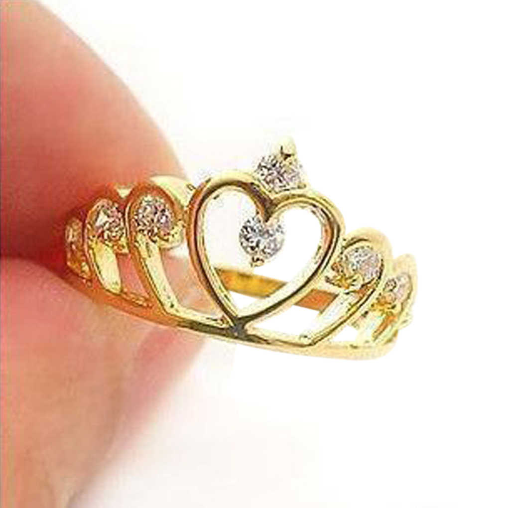 Women Rings Gold Flash Drill Crown Ring Jewelry Shiny Elegant Beauty Ring for Party 1PCS