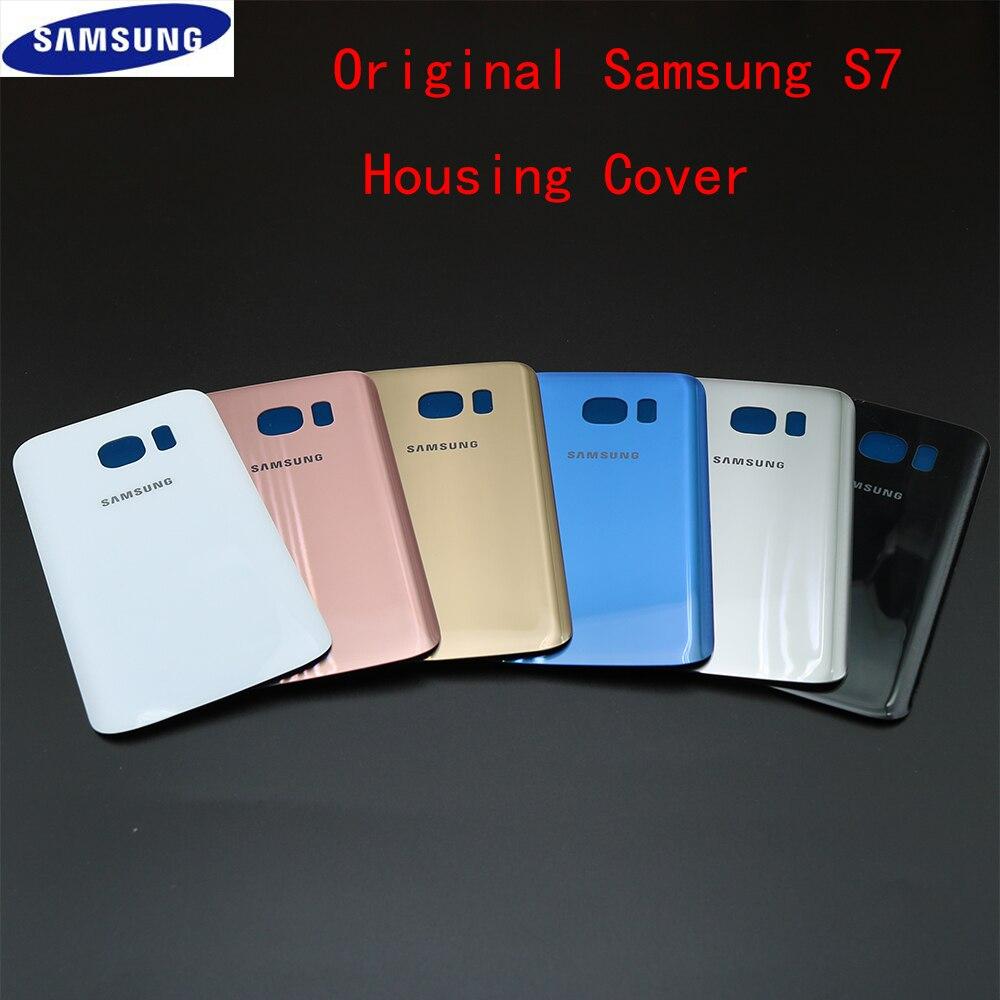 Capa Original Habitação para Samsung Galaxy S7 Vidro Voltar Porta Da Bateria Tampa Traseira Com Substituição G930 Reparação Peças De Reposição