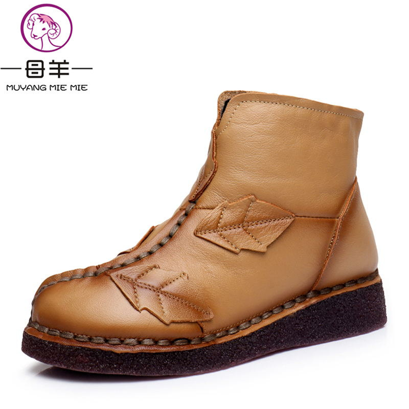 MUYANG MIE MIE Winter Women Shoes Woman Genuine Leather Flat Ankle Boots Handmade Vintage Snow Boots Women Boots отпариватель для одежды mie stiro 1300
