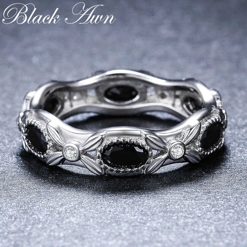 [ĐEN AWN] 925 Sterling Silver Bạc Trang Sức Cưới Nhẫn đối với Phụ Nữ Nữ Ngựa Mắt Đá Bijoux Vòng Bạc 925 đồ trang sức G085