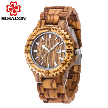 men wooden watch hot 2017 quartz wrist watches with sandalwood strap Calendar clock male luxury brand sport watch with gift box