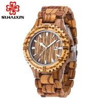 Men Dress Watch Men Wooden Quartz WristWatch With Calendar Display Bangle Natural Wood Watches Relogio