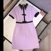 Модные розовые платья для женщин 2019 короткий рукав летнее платье Высокое качество