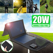20W Solar Panels Portable Foldable Waterproof Dual USB Solar Panel Charger Power Bank for Outdoor Camping Hiking Charging esunpower 14w high efficiency foldable sunpower solar panel charger dual output solar power bank camping charger for cell phone