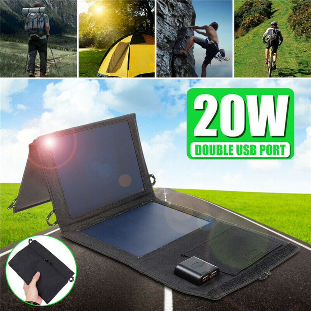 20W Solar Panels Portable Foldable Waterproof Dual USB Solar Panel Charger Power Bank for Outdoor Camping Hiking Charging