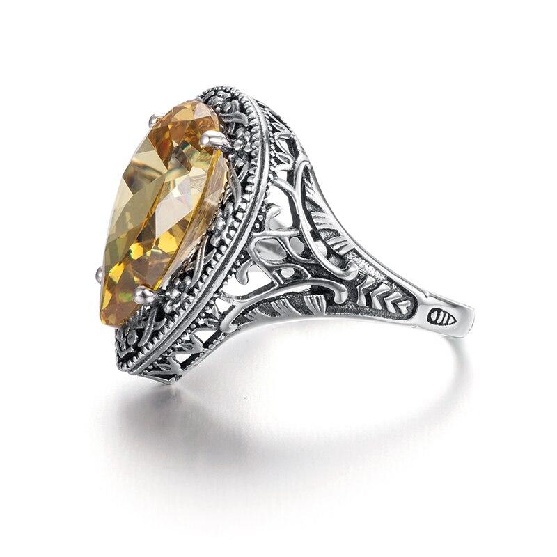 Image 2 - Szjinao 925 пробы Серебряное женское кольцо Carter Love в форме сердца с желтым кристаллом в стиле Виктории, старинное ювелирное изделие, обручальное кольцоwedding bandcarter love ringlove ring -