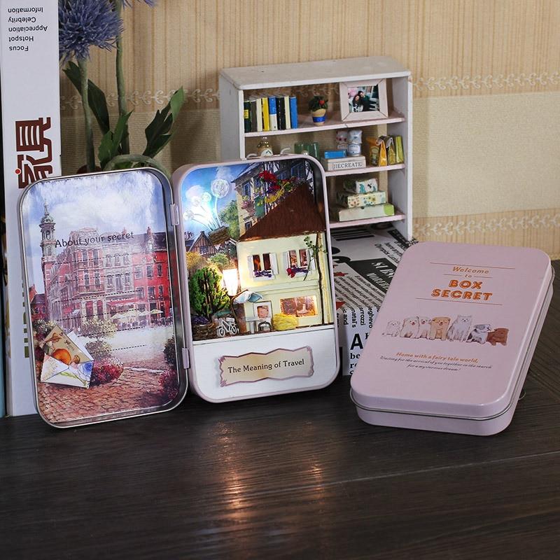 Diy Hut Box Theatre DIY Mini Furniture Doll House Handmade Box Secret Assembled House Model Creative Birthday Gifts for Kids