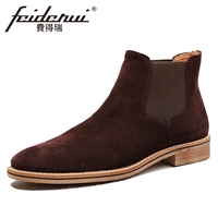 Fashion Cow Suede Leather Men's High Top Chelsea Ankle Boots Round Toe Handmade Nubuck Cowboy Martin Shoes For Man HQS269