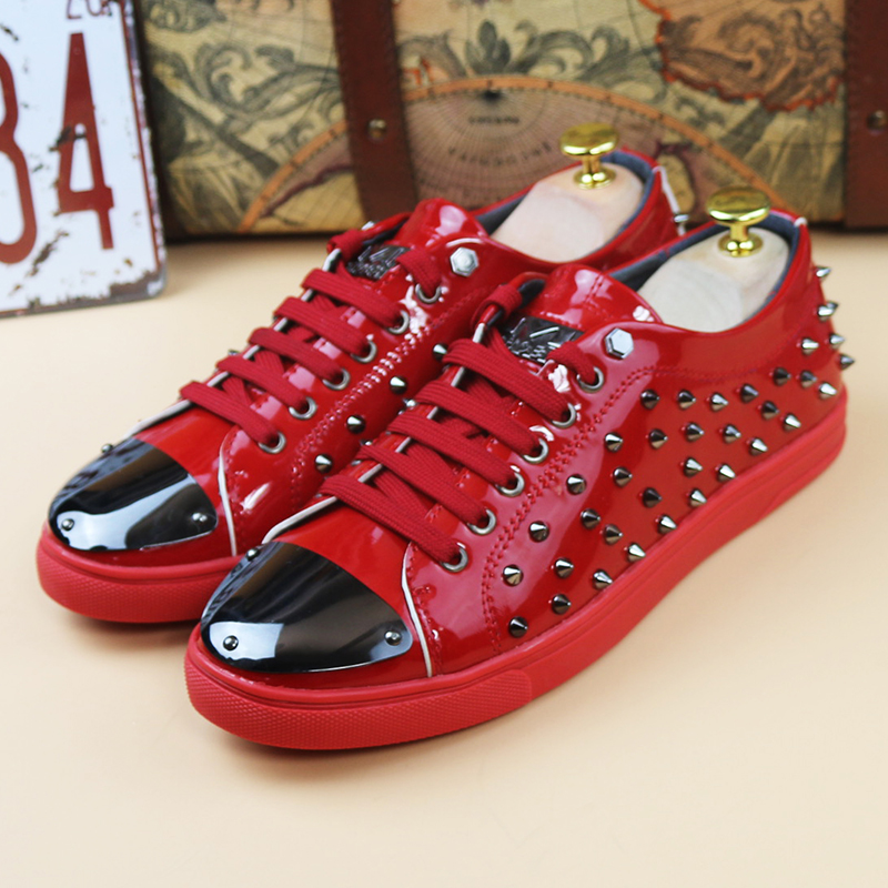 ФОТО new 2017 men genuine leather rivets flat casual shoes cool guys hip hop shoes tenis shoes for men size 38-43