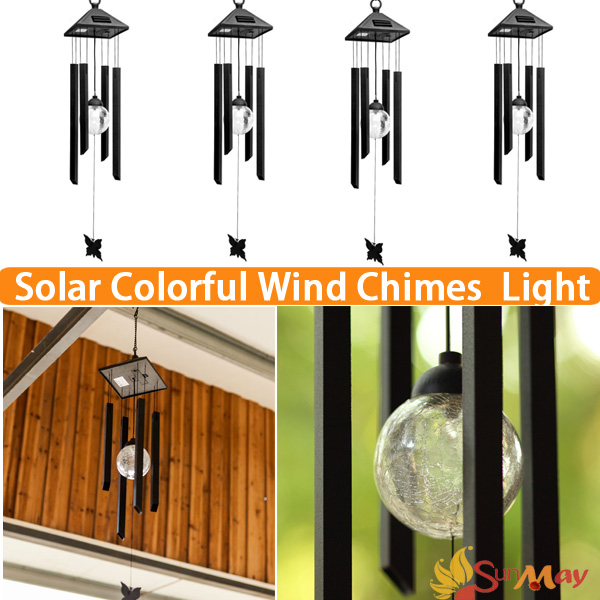 Night Solar LED Wind Chimes Glass Multicolors Pendant Bell Yard Garden Wind  Chimes Lamp Accessories Feng