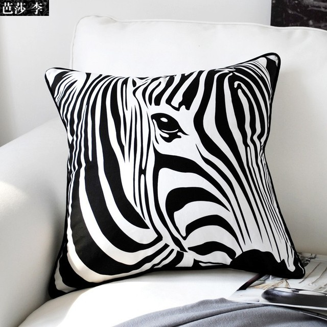 Aliexpress.com : Buy Black White Zebra Cushion Cover Puzzel Pillow Decorative Cotton Pillowcases ...