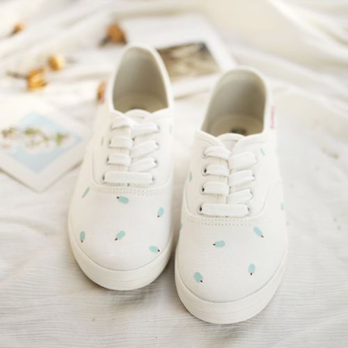 2016 new fashion women shoes  HARAJUKU small fresh flat canvas  all-match mint green hand-painted casual shoes