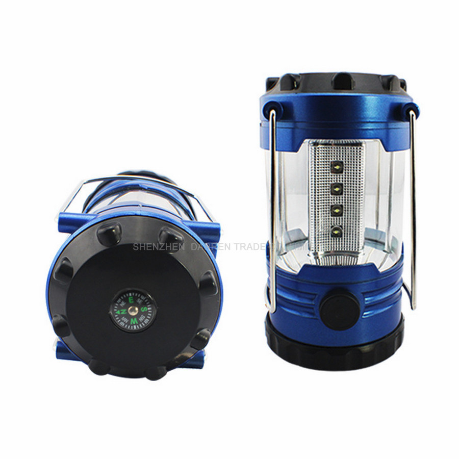 144pcs/lot 12 LED Bivouac Camping Light Hiking Fishing Tent Lantern Light Lamp with Compass Blue Color White Light HYY133