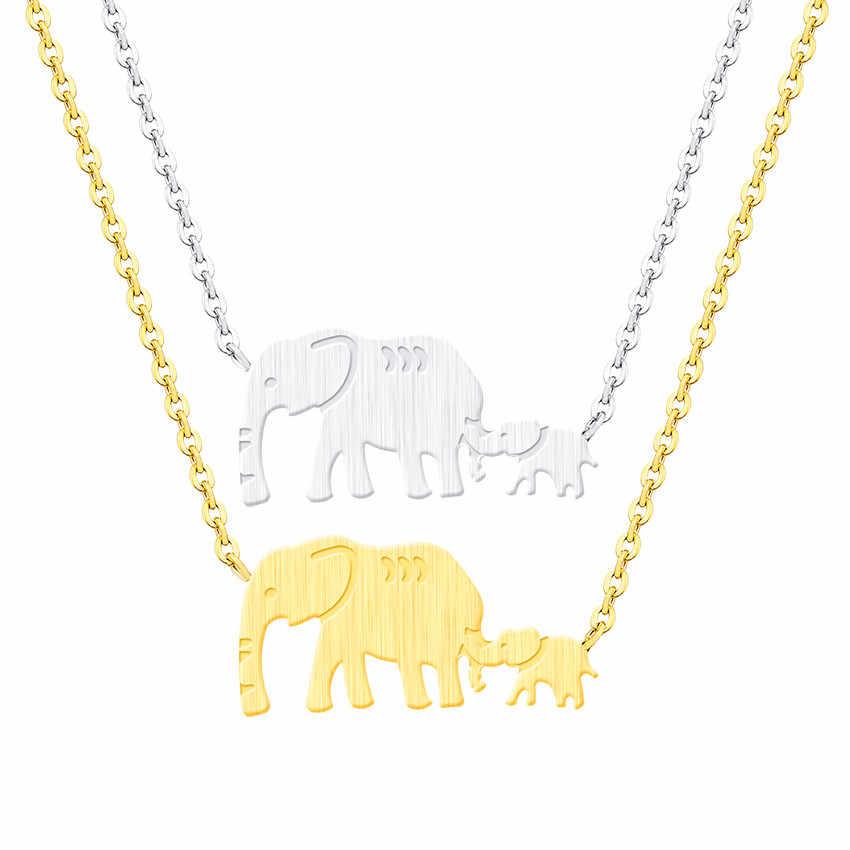 Double Elephant สร้อยคอแม่ของขวัญ Dainty เครื่องประดับสแตนเลสสัตว์ Mama เด็กจี้สร้อยคอ Collares Mujer Bijoux