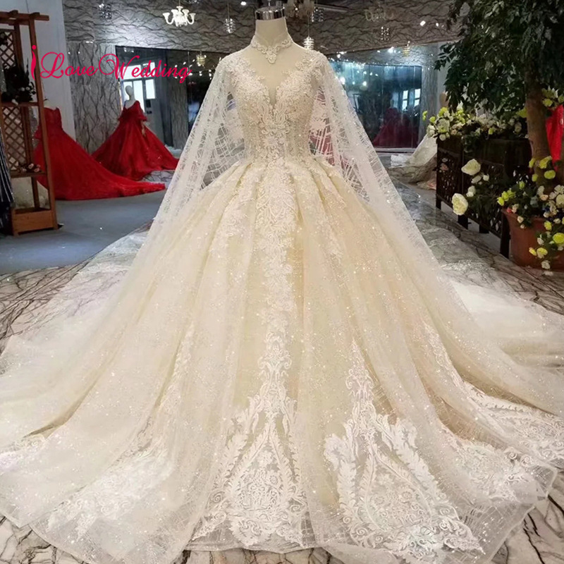 LS11206 New Fashion 2019 High Neck Illusion Neckline Ball Gown Lace Applique Muslim Long Sleeves Wedding Dresses
