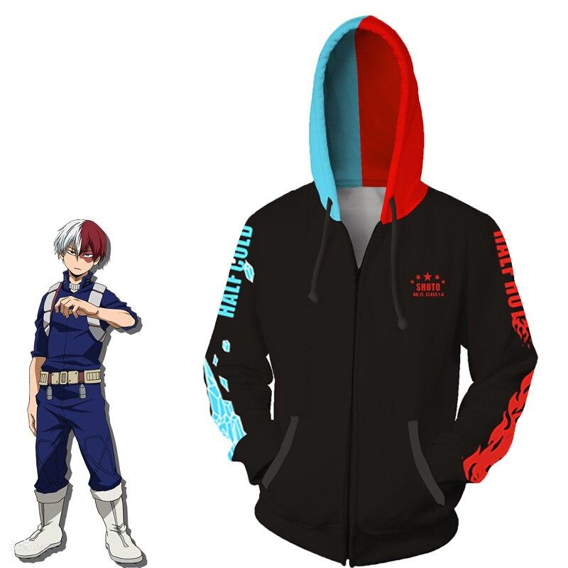WXCTEAM Anime My Hero academia Todoroki Shoto Cos Costumes Sweatshirt Zipper Hoodie My Hero Academy Halloween Gift