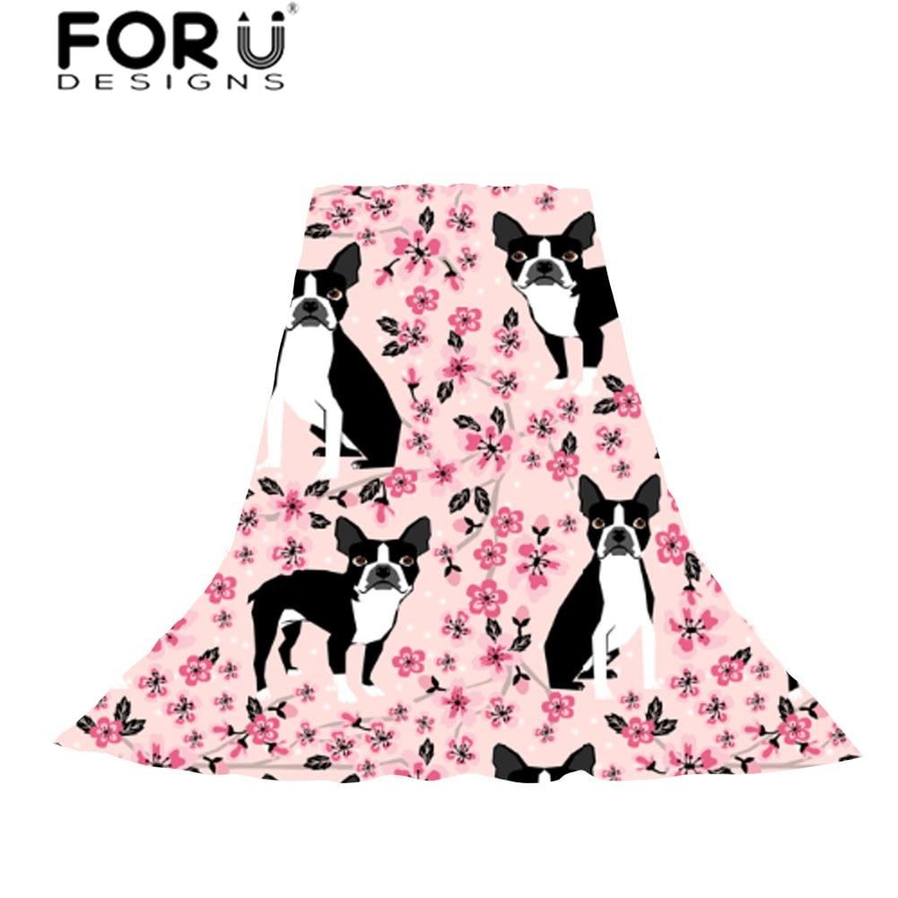 Best buy ) }}FORUDESIGNS Women Scarves Cartoon Boston Terrier Print Slik Scarf Ladies Florals Pattern