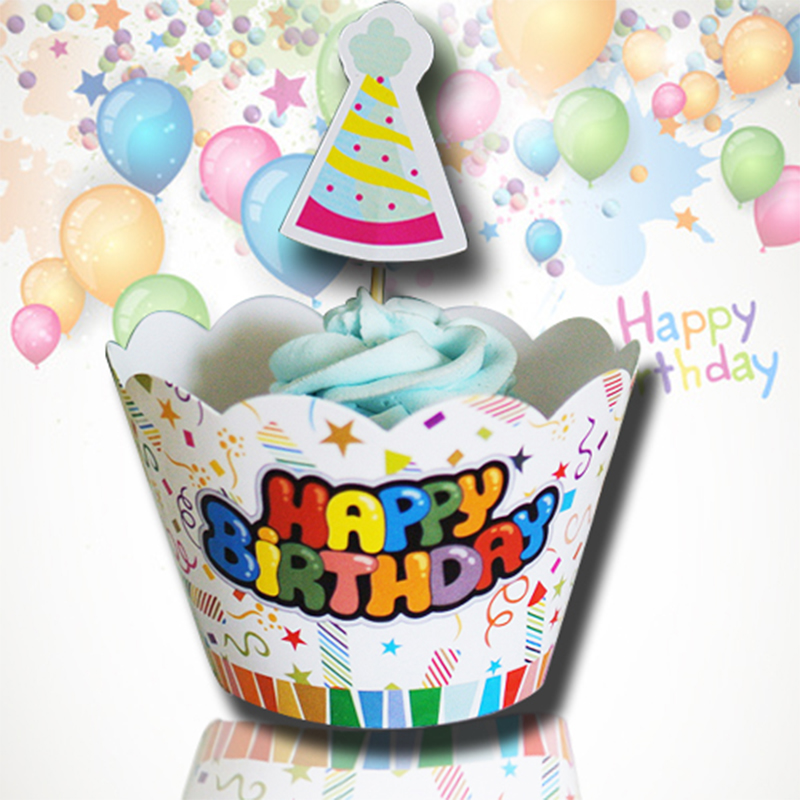 Cupcake Home Decor: 24pcs/lot Birthday Cupcake Wrappers Toppers Kids Party