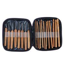 20 шт. необходимый бамбуковый вязальный крючок для шитья, Набор детских спиц для вязания, сделай сам, плетение игл, инструмент для рукоделия с сумкой, чехол для мамы