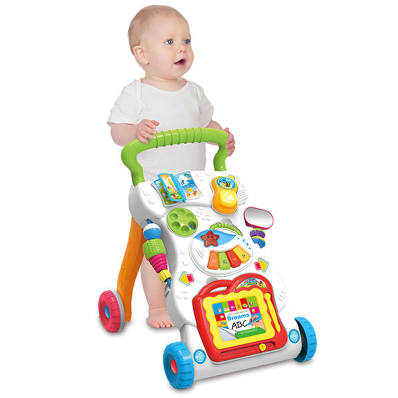 Wheels Foldable Adjustable Car High Quality Baby Walker Car Helps Walk Learning Toys original fisher price multi function baby walker lion car children activity musical baby walker with wheels adjustable car