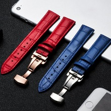 Leather Watch Band Wrist Strap 14mm 16mm 18mm 20mm Silver Butterfly Clasp Buckle Replacement Bracelet Belt Blue Pink Red White стоимость